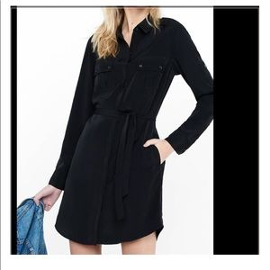 Express Black  Collared  button up dress
